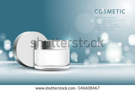 cosmetic product poster, blue bottle package design with moisturizer cream or liquid, sparkling background with glitter polka, vector design. #546608467