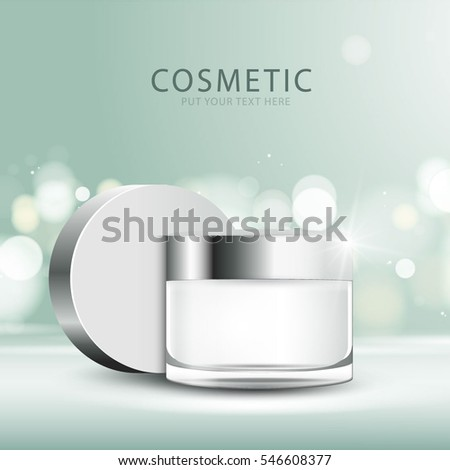 cosmetic product poster, green bottle package design with moisturizer cream or liquid, sparkling background with glitter polka, vector design. #546608377
