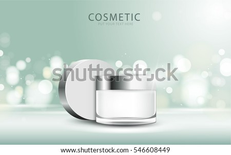 cosmetic product poster, green bottle package design with moisturizer cream or liquid, sparkling background with glitter polka, vector design. #546608449