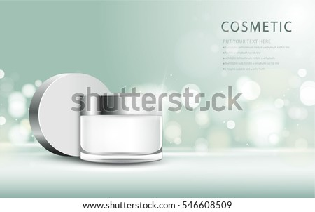 cosmetic product poster, green bottle package design with moisturizer cream or liquid, sparkling background with glitter polka, vector design. #546608509