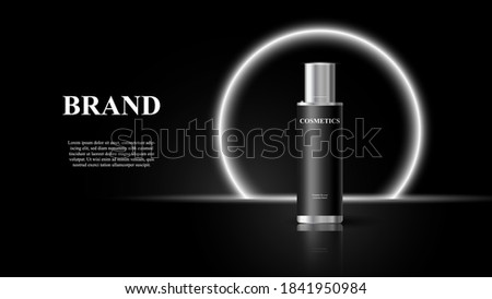Cosmetic Product Template, Vector Background with cosmetic product, black cosmetic bottle on black background, premium design of cosmetics product, cosmetic brand presentation