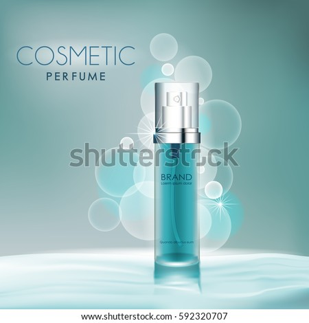 Cosmetic products ad,dark blue background with beautiful perfume containers in vector 3d illustration #592320707