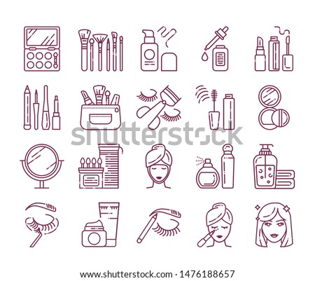 Cosmetic products and professional facial makeup line icons set. Feminine skincare. Beauty industry. Pictogram for web page, mobile app, promo. UI/UX/GUI design element. Editable stroke.