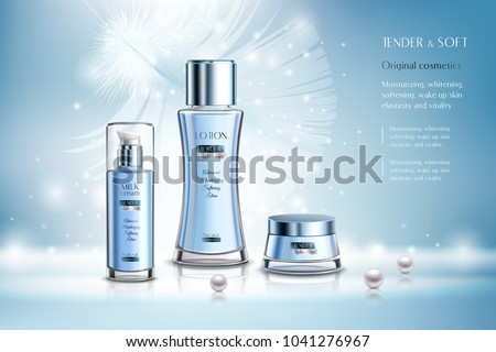 Cosmetic products including lotion, milk cream advertising composition on blue background with pearls and feather vector illustration