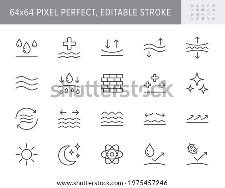 Cosmetic properties line icons. Vector illustration include icon - day cream, moisture, dermatology, soothing, collagen outline pictogram for skincare product. 64x64 Pixel Perfect, Editable Stroke. Сток-фото ©