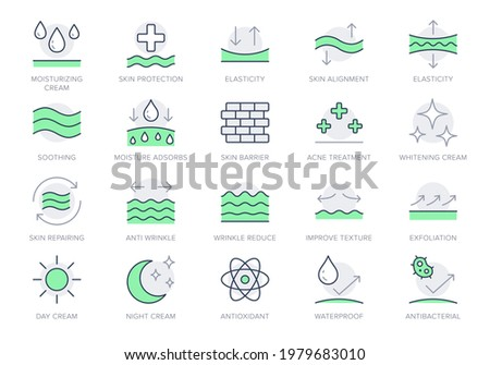 Cosmetic properties line icons. Vector illustration include icon - day cream, moisture, dermatology, soothing, collagen outline pictogram for skincare product. Green Color, Editable Stroke. Сток-фото ©