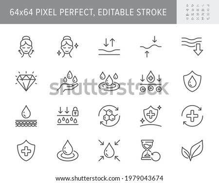 Cosmetic properties line icons. Vector illustration include icon - shield, face lifting, collagen, dermatology, serum outline pictogram for skincare product. 64x64 Pixel Perfect, Editable Stroke. Сток-фото ©