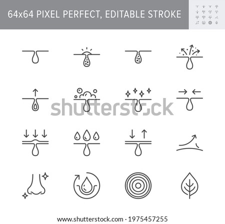 Cosmetic properties line icons. Vector illustration include icon - whitening, acne, moisturizing, cosmetic, gel, pimple, outline pictogram for skincare product. 64x64 Pixel Perfect, Editable Stroke. Foto stock ©