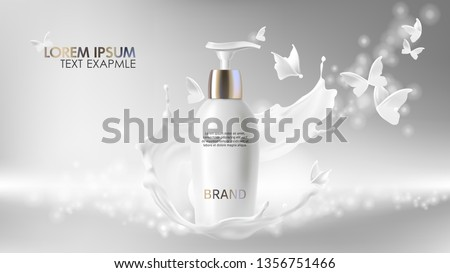 Cosmetic realistic vector shining background with cream. Skin care cosmetics body lotion in white bottle with silver dispenser in milk splash, swirl with flying butterflies Mock-up promo banner poster