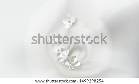 Cosmetic realistic vector white poster with cream or milk swirl, falling jasmine flower. Skin care natural or organic cosmetics concept, wavy liquid surface with whirlpool. Mock-up promo banner