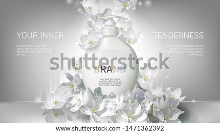 Cosmetic realistic white vector poster with liquid soap packaging and falling jasmine flowers. Skin care cosmetics body lotion, washing gel or cleancer in white bottle with pump. Mock-up promo banner