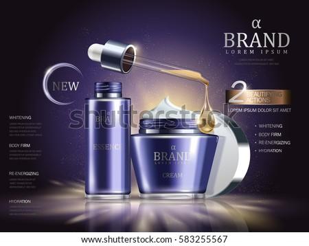 cosmetic set ads  purple cream