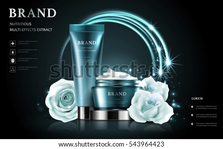 cosmetic set ads, white rose with realistic container isolated on glitter dark background