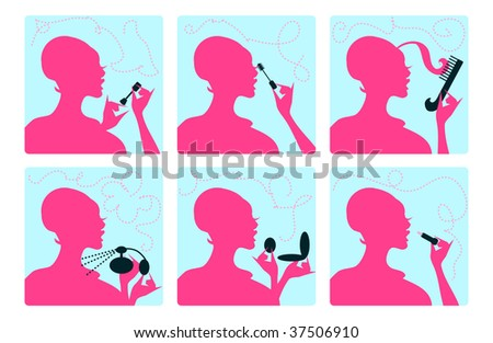 stock vector : Cosmetic Silhouette Make up logo, Dressing Up icons, sings.