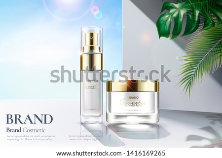 Cosmetic skincare set ads with strong sunbeam and clear white wall background in 3d illustration