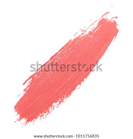 Cosmetic smear of lipstic. Acrylic color brushstroke