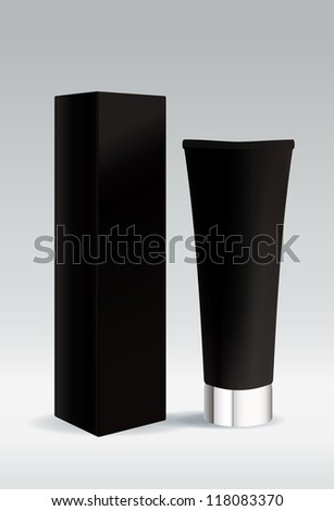 Cosmetic tube in black color for gel or cream