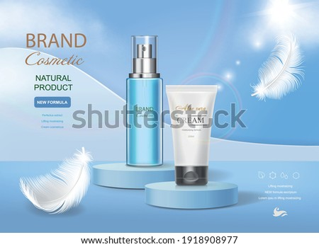 Cosmetic tube with moisturizing cream on vector blue shining background. Premium templates for ads, realistic translucent bottle and white tube and feather.