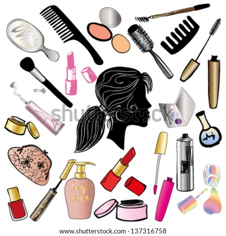 Cosmetics And Beauty Products Icon Set Color 137316758
