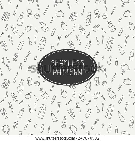Cosmetics and beauty products icons. Vintage seamless patterns with cosmetics elements. Hand drawn doodles. Stylish graphic texture for your design. Beautiful background. Vector illustration.