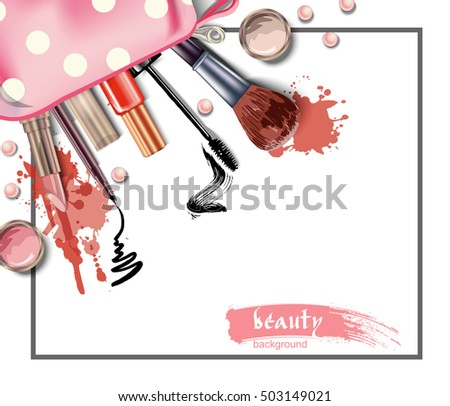 Cosmetics and fashion background with cosmetic bag and make up artist objects: lipstick, eye shadows, eyeliner, brush , nail polish. Vector illustration.