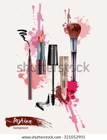 Cosmetics and fashion background with make up artist objects: lipstick, mascara eyeliner.  With place for your text. Template Vector.