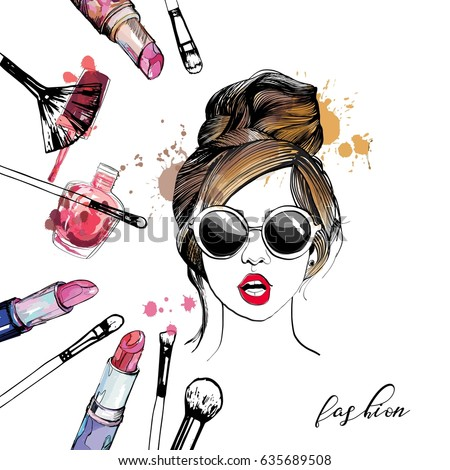 Cosmetics and fashion illustration with stylish young girl in glasses.