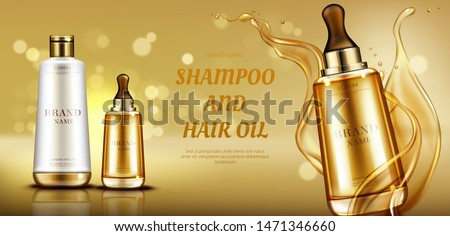 Cosmetics beauty product bottle mockup banner on gold background with liquid droplets splash. Hair care shampoo and oil serum cosmetic advertising promo template for magazine. Realistic vector ad