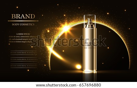 Cosmetics beauty series, ads of premium spray cream  for skin care. Template for design poster, placard, presentation, banners, cover, vector illustration.