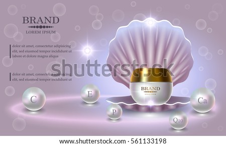 Cosmetics beauty series, premium Pearl Cream packaging for skin care. Template for design poster, placard, presentation, banners, covers, vector illustration.