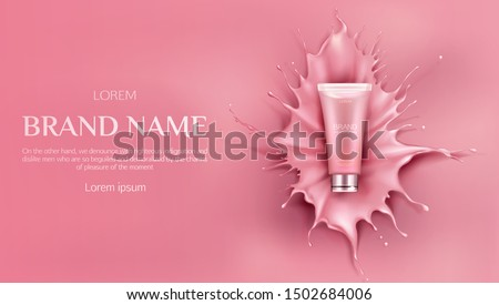 Cosmetics bottle mockup, beauty cosmetic product for face care on pink background with liquid splash and droplets, bb cream or foundation tube package design. Realistic 3d vector illustration, banner
