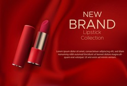Cosmetics design red lipstick on a red silk background
