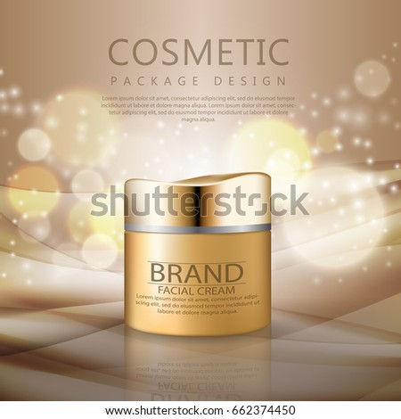 Cosmetics for body cream. Jar for design on a light background. Beautiful realistic vector illustration for advertisement of organic cosmetic series with face cream container and pearls
