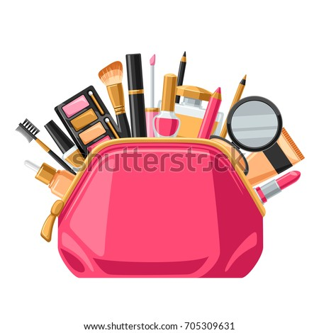 Cosmetics for skincare and makeup in bag. Background for catalog or advertising.