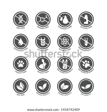 Cosmetics ingredients free circle vector stamp label. Cosmetics packaging badge set, fragrance free, silicone free, bio, organic cosmetics.