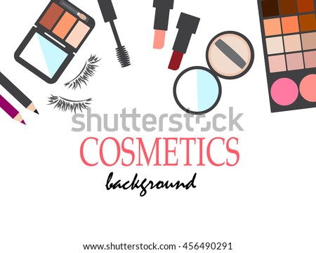cosmetics items and make up artist objects for background Vector illustration.