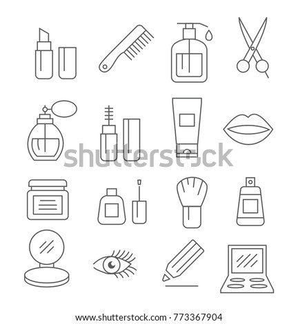 Cosmetics line icons on white bsckground