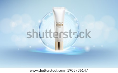 Cosmetics Lotion Bottle Whit White and Blue Spherical Elegant on Blue Upon Water.Bokeh Background.3D illustration.