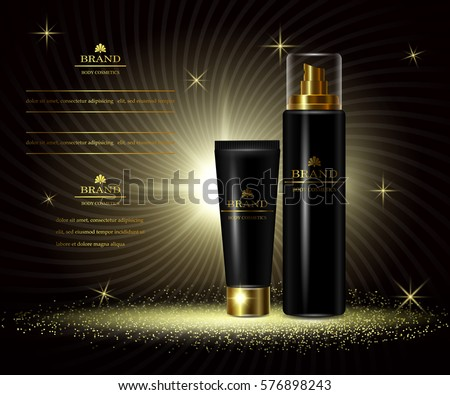 Cosmetics luxury beauty series, ads of premium body cream for skin care. Template for design poster, placard, presentation, banners, cover, vector illustration.
