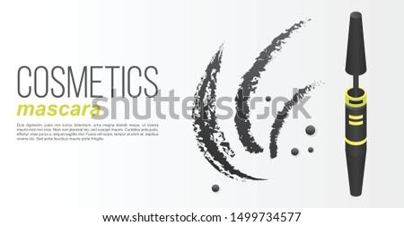 Cosmetics mascara concept banner. Isometric illustration of cosmetics mascara vector concept banner for web design