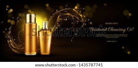 Cosmetics oil bottles mockup. Beauty cosmetic product line for cleansing treatment on dark background with gold liquid droplets splash. Advertising promo for magazine. Realistic 3d vector, ad banner