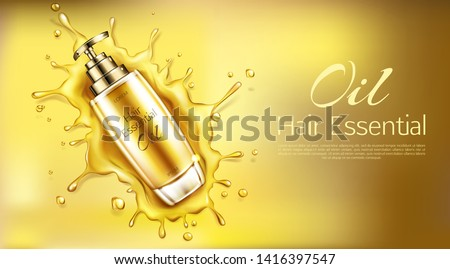 Cosmetics oil for hair essential product bottle with pomp mockup on gold background with liquid droplets splash. Beauty cosmetic advertising promo template for magazine. Realistic 3d vector ad banner Stock fotó ©