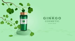 Cosmetics or skincare product. Bottle mockup and Ginkgo Leaves with green background. vector illustration.