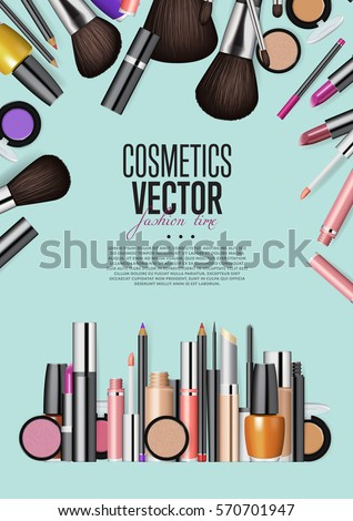 Wall mural Cosmetics products, fashion makeup banner. Brushes, powder palettes, lipstick, eye pencil, nail polish realistic vector illustrations set on turquoise background. Cosmetics shop, beauty salon web page