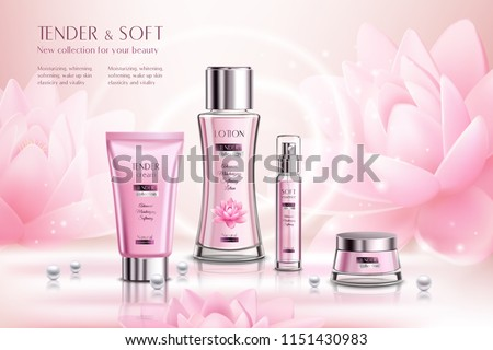 Cosmetics products series advertising composition on pink sparkling background with lotus flowers and pearls vector illustration
