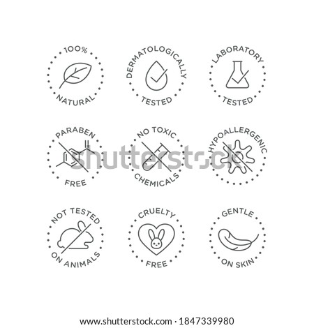 Cosmetics round isolated product vector icon set, round badge line art style illustration.