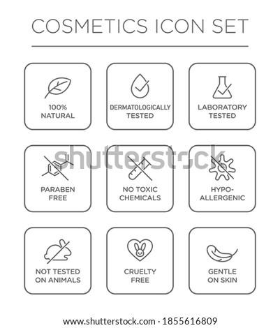 Cosmetics round isolated product vector icon set, round badge line art style illustration. Foto stock ©