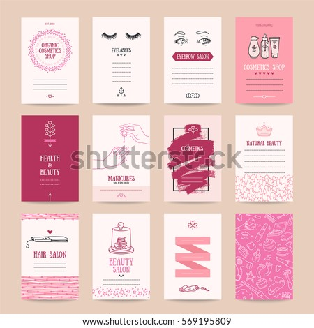 Cosmetics shop business card, beauty parlor invitation, nail salon flyer, spa procedures poster, make-up banner. Artistic vector templates set with thin line symbols and hand drawn design elements.
