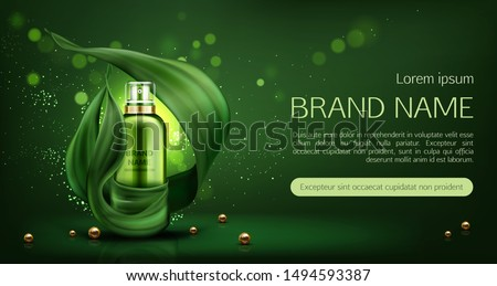 Cosmetics tube mock up ad banner, organic beauty product, lotion, natural skin care sprayer bottle mockup on green background with leaves and gold pearls, eco skincare cosmetic. Realistic 3d vector