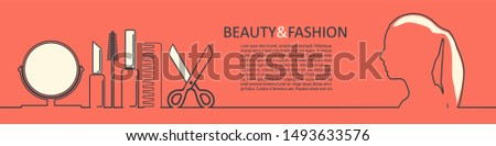 Cosmetology and hairdressing concept. Vector template for presentation. Horizontal thin line style web banner. Woman face